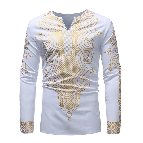 African Dresses Clothes for Men Shirt Dashiki  Long Sleeve Traditional Blouse
