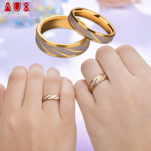 Auxauxme Titanium Steel  Rings Gold  for Women Men Engagement Jewelry