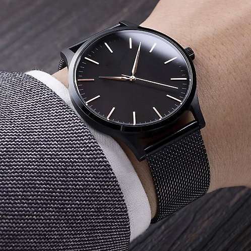 40mm unisex milanaise strap stainless black multiple strap watch