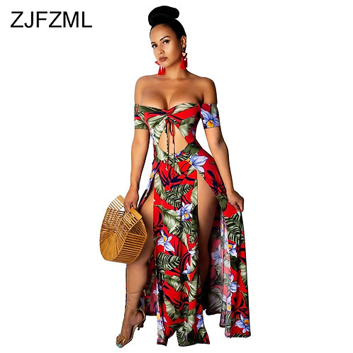 Flower Print Sexy Bohemian Dress Plus zise