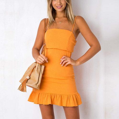 Yellow Summer Mini Dress with Ruff