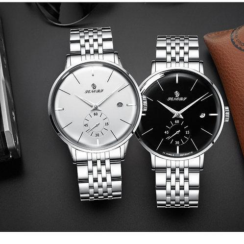 Automatic Self Wind Mechanical Luminous Stainless Steel Black White Dial Simple