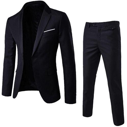 2Pcs/Set Plus Size Slim Button Business Suit for Men