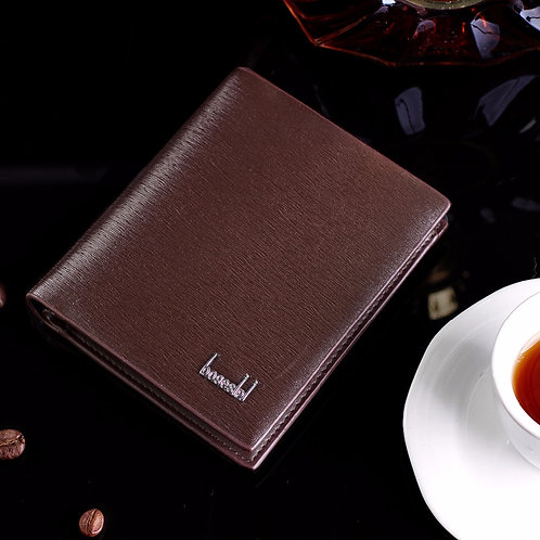 European solid color classic soft Men's multi-card short wallet PU leather for b