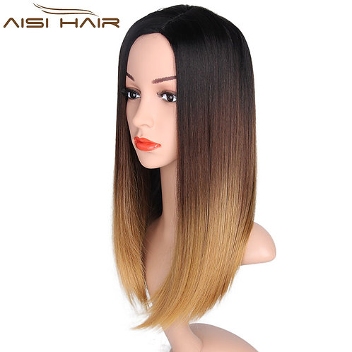 Aisi Hair Cheap Long Straight Hair Synthetic Brown Ombre Wig
