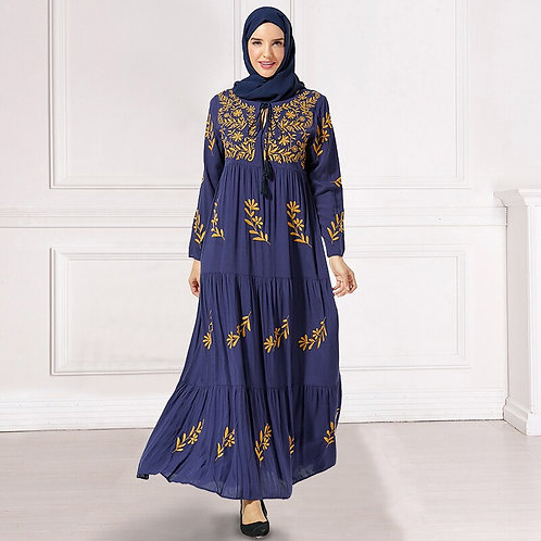 Arabian Long Dress Chic Floral Embroidery