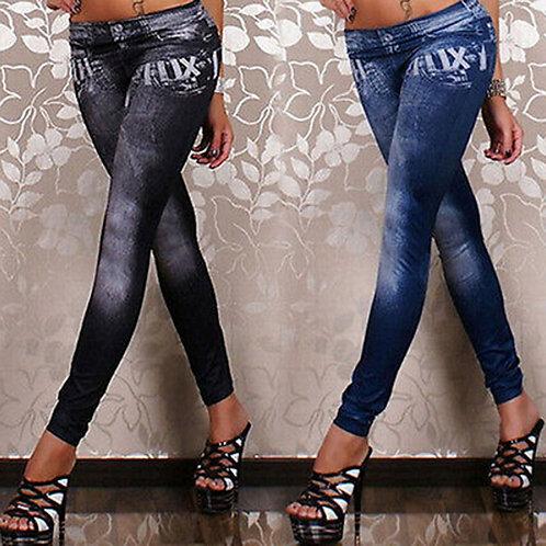 Jean Leggings Stretchy Slim Winter Leggings Pencil Pants Trousers One Size