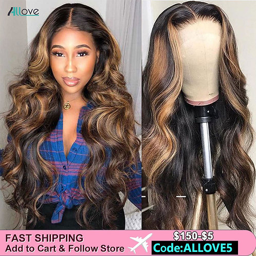 Ombre Human Hair Wigs 150% 13X6 Lace Frontal Wig