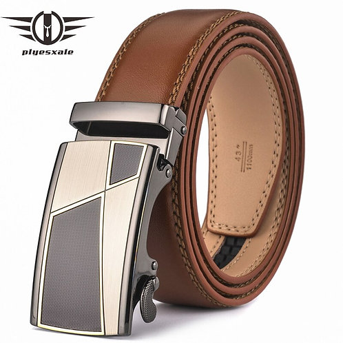 Automatic Buckle Brown  Genuine Leather Belt for Men High Quality