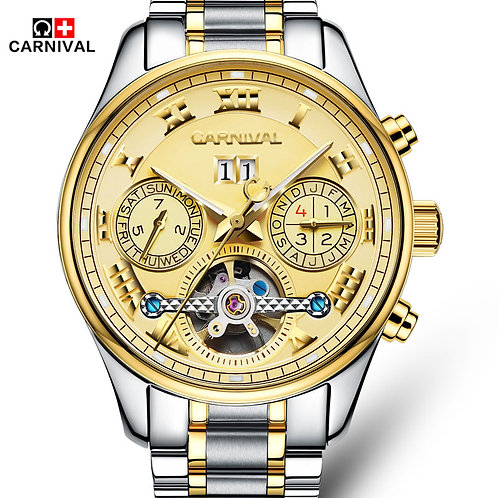 Carnival Automatical Mechanical Hand Wrist Watch for Men Sapphire Window relogio