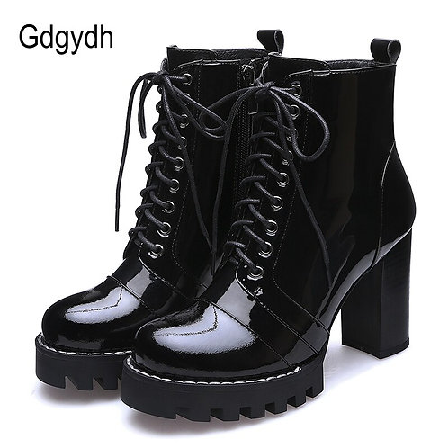 Ankle Boots for Women Genuine Leather Lace-Up High