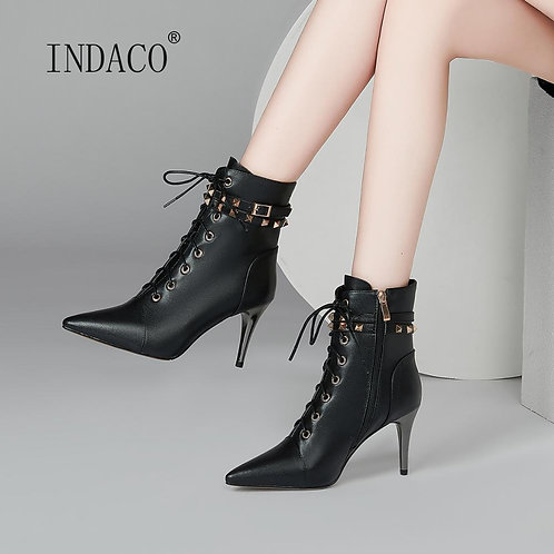 Ankle Boots for Women Leather Rivets