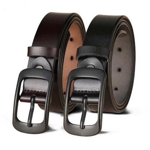 2.8cm width zinc alloy pin buckle genuine leather belt for women