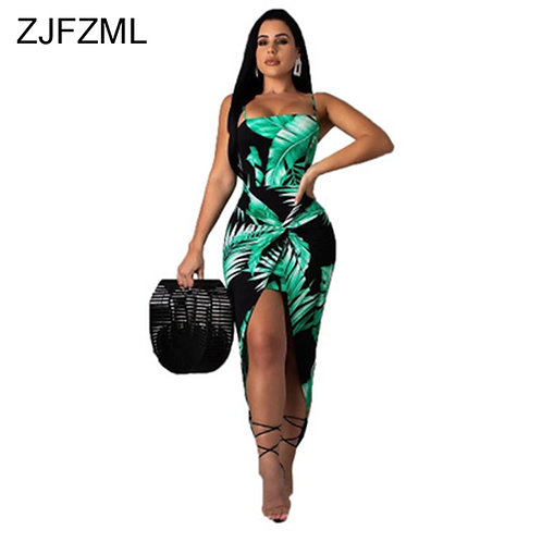 Print Sexy Bodycon Dress Sleeveless Sundress