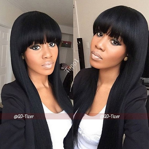 Beauty Brazilian Hair Long Straight Wig With Bangs Black Color Heat Resistant Sy