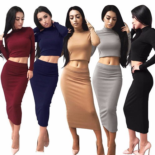Women Clothing Two Pieces Dresses Women Spring Long Sleeve Clothes
