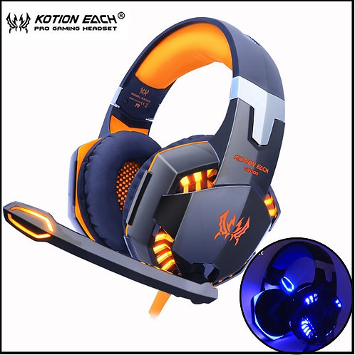 Game Headphones Deep Bass Stereo  Light  Microphone Mic for PC Laptop PS4 Xbox