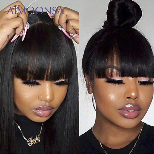 Human Hair  Wig With Bangs 150 Density Preplucked Lace Wig Remy
