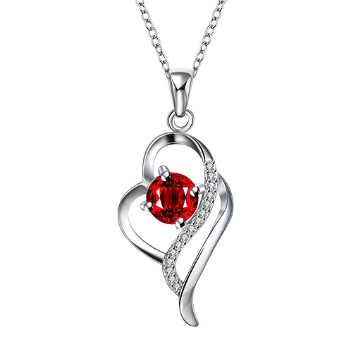 925 Sterling Silver plated blue crystal heart pendant necklace