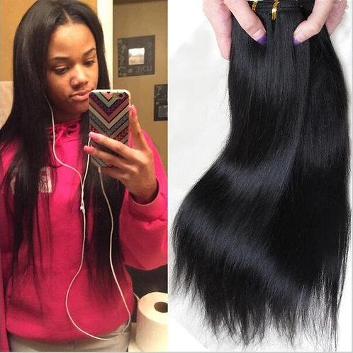 1 Bundle 50g Brazilian Straight Remy Hair Weft Human Hair Extensions Weaves Unpr