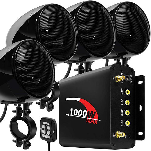 1000W Motorcycle Audio 4CH Amplifier Boat Speakers System