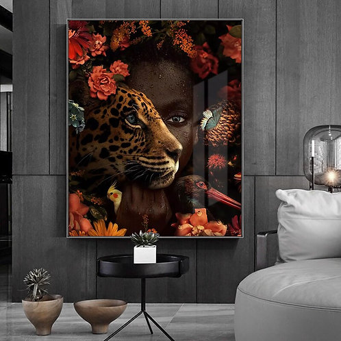 African Art Black Woman Tiger Rose Bird Oil Painting on Canvas