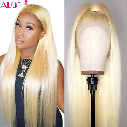613 Blonde Lace Front Wig Brazilian Straight 13x4 Lace Front Human Hair Wigs