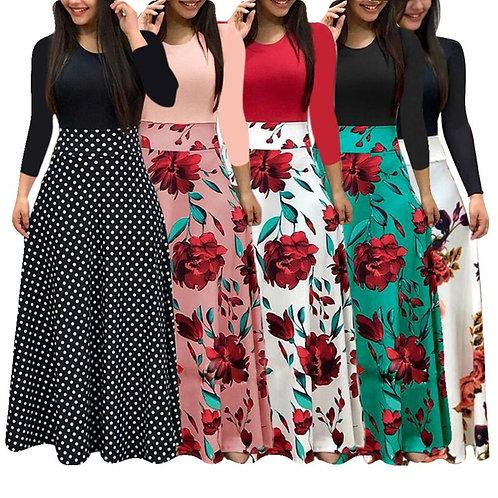Plus Size Long Maxi Dress Elegant Print Party Dress