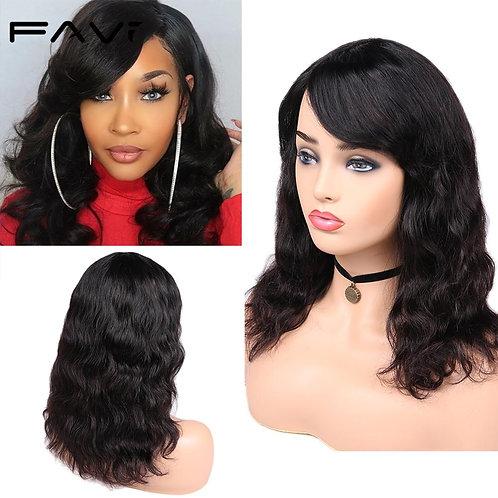 100% Human Hair Wig With Bangs 150% Density
