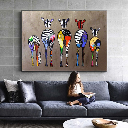 Abstract Zebra Canvas African Art Paintings