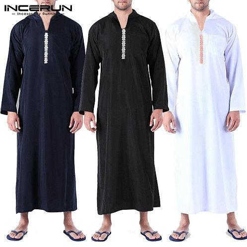 Muslim Arabic Islamic Kaftan Men Long Sleeve