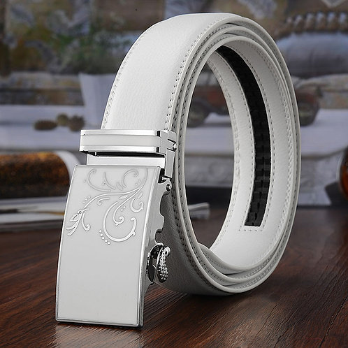 btb0126 Removable Automatic Buckle Cow Leather Men White Bel