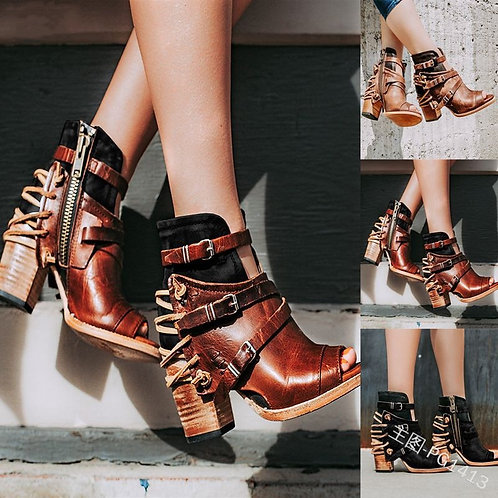 Ankle Boots Vintage Leather Casual High Heels