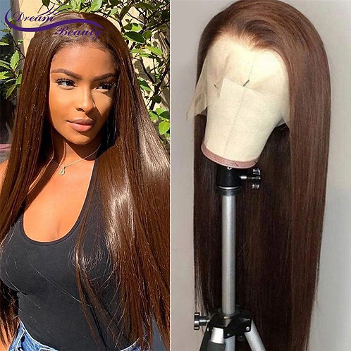 360Lace Frontal Human Hair Wigs Straight Brown Color 13X6 Full 250Density
