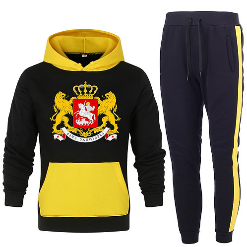 2 Pieces Sets Tracksuit for Men Hooded Sweatshirt+pants