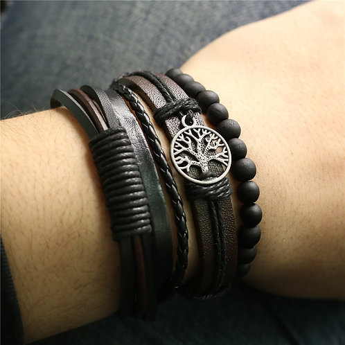 4 Pcs/Set Vintage Multilayerer Bracelets for Men & Women