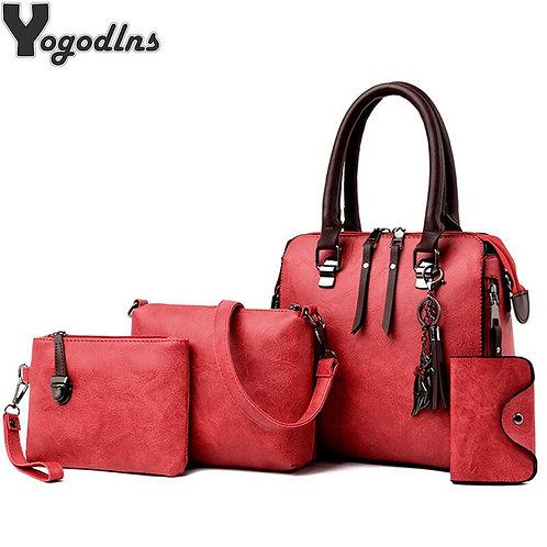 4 Pieces/Set Luxury Handbags for Women Vintage PU Leather