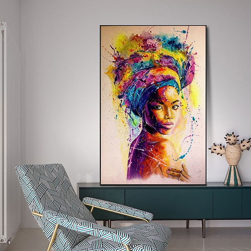 African Black Woman Graffiti Art Posters and Prints Abstract
