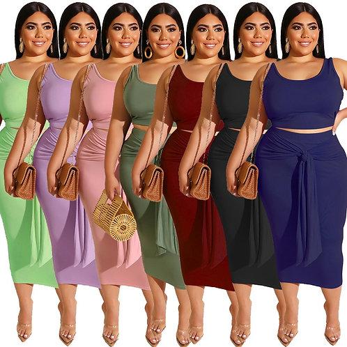 Plus Size Sets  5xl 2 Piece Top and Skirt Set