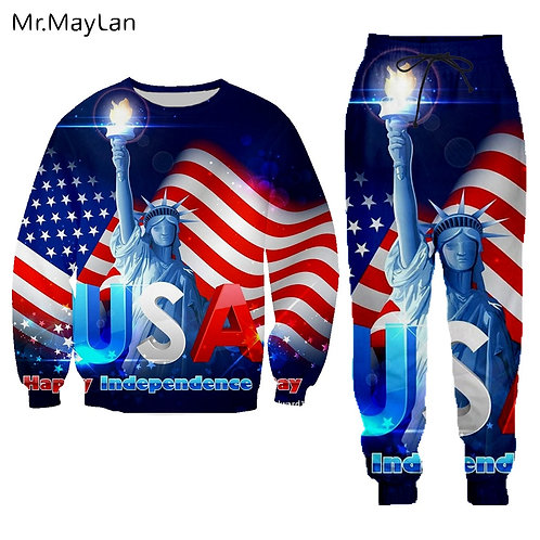 Streetwear 3D Print American Flag