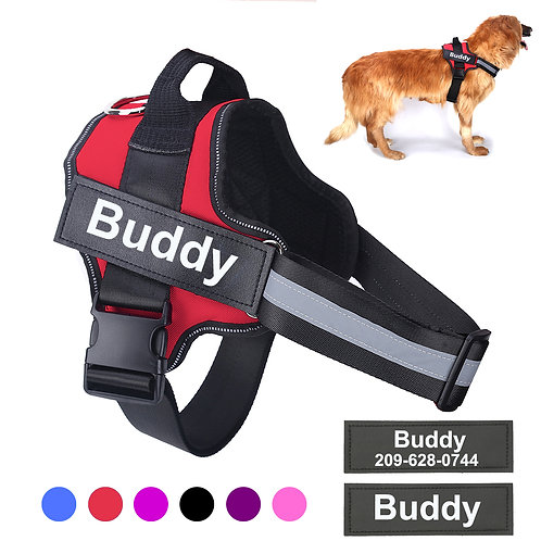 Adjustable Pet Harness for Small Large Dog Harness Vest With Custom Patch