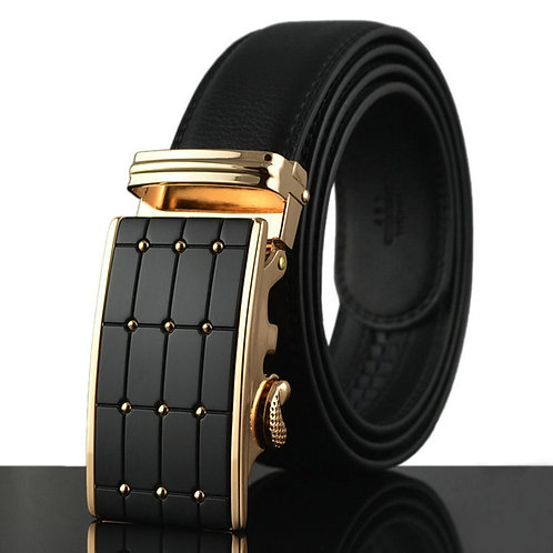 Cowhide Leather Men Business Automatic Buckle Belt