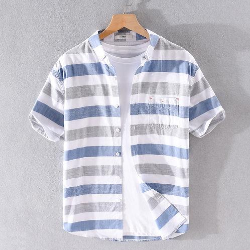 100% Cotton Stripe Short Sleeve Shirt for Men