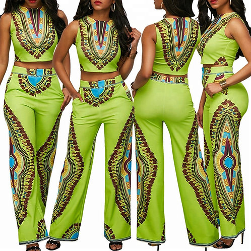 Africa Clothing green African Women dashiki dress with print