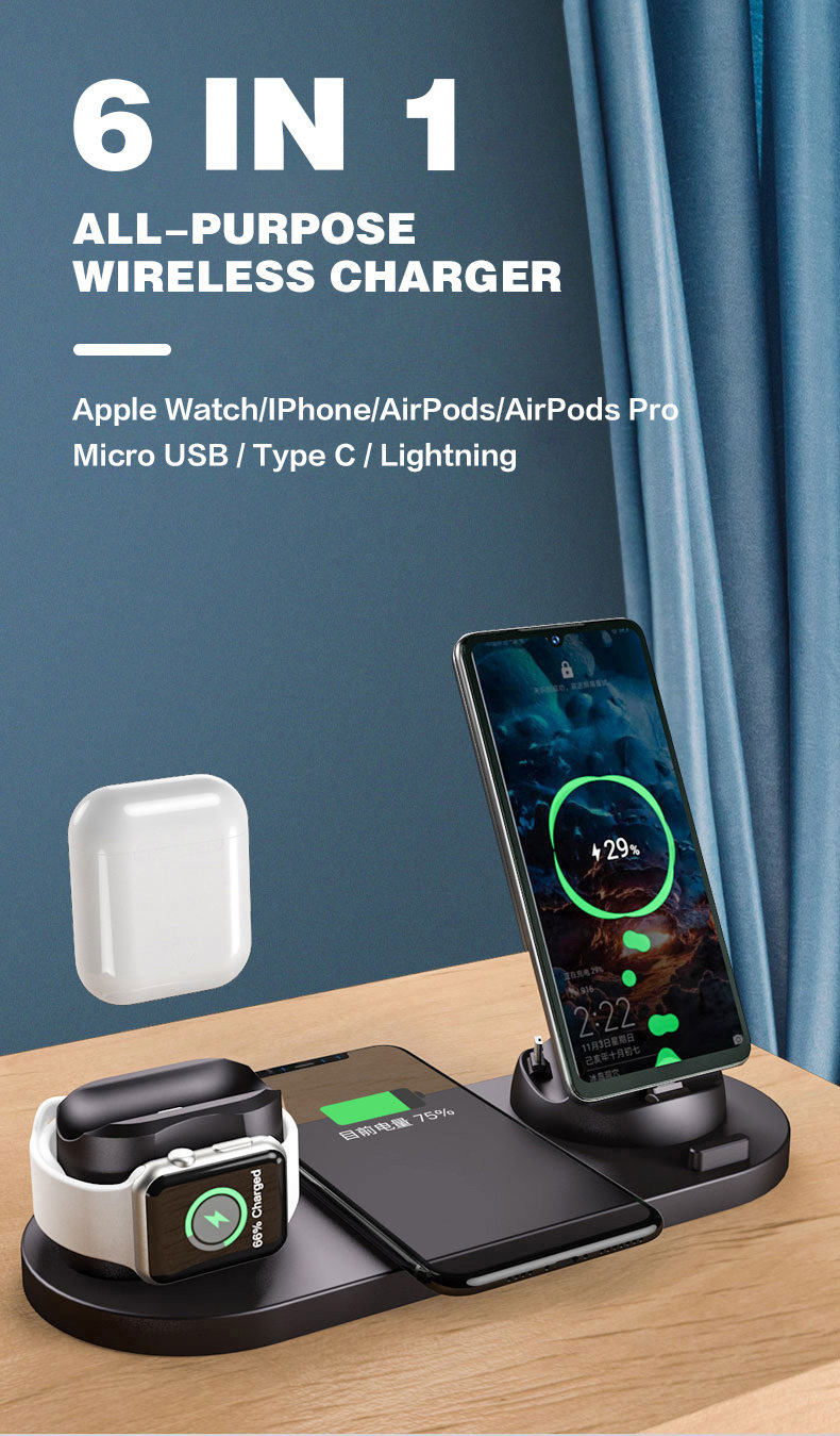 wireless charger station 6 in 1 shoppiny