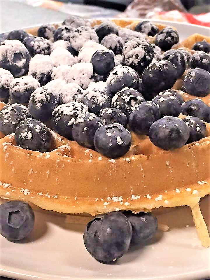 Fresh waffles and blueberries