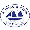 Blue Schooner Creek Boat Works Logo Square