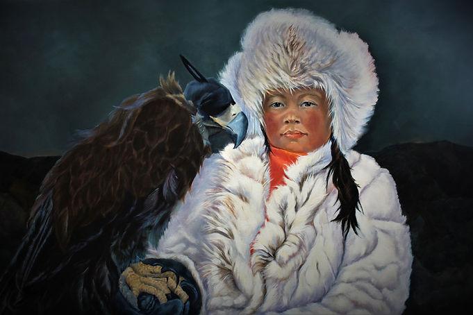 Eagle Huntress, Oil, 36 x 24, framed