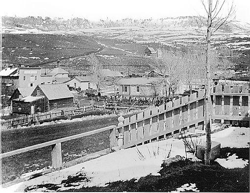 Chinese Funeral outside Gilbert House 1900 Virginia City, Montana
