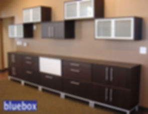 Entertainmet center with floating cabinets.